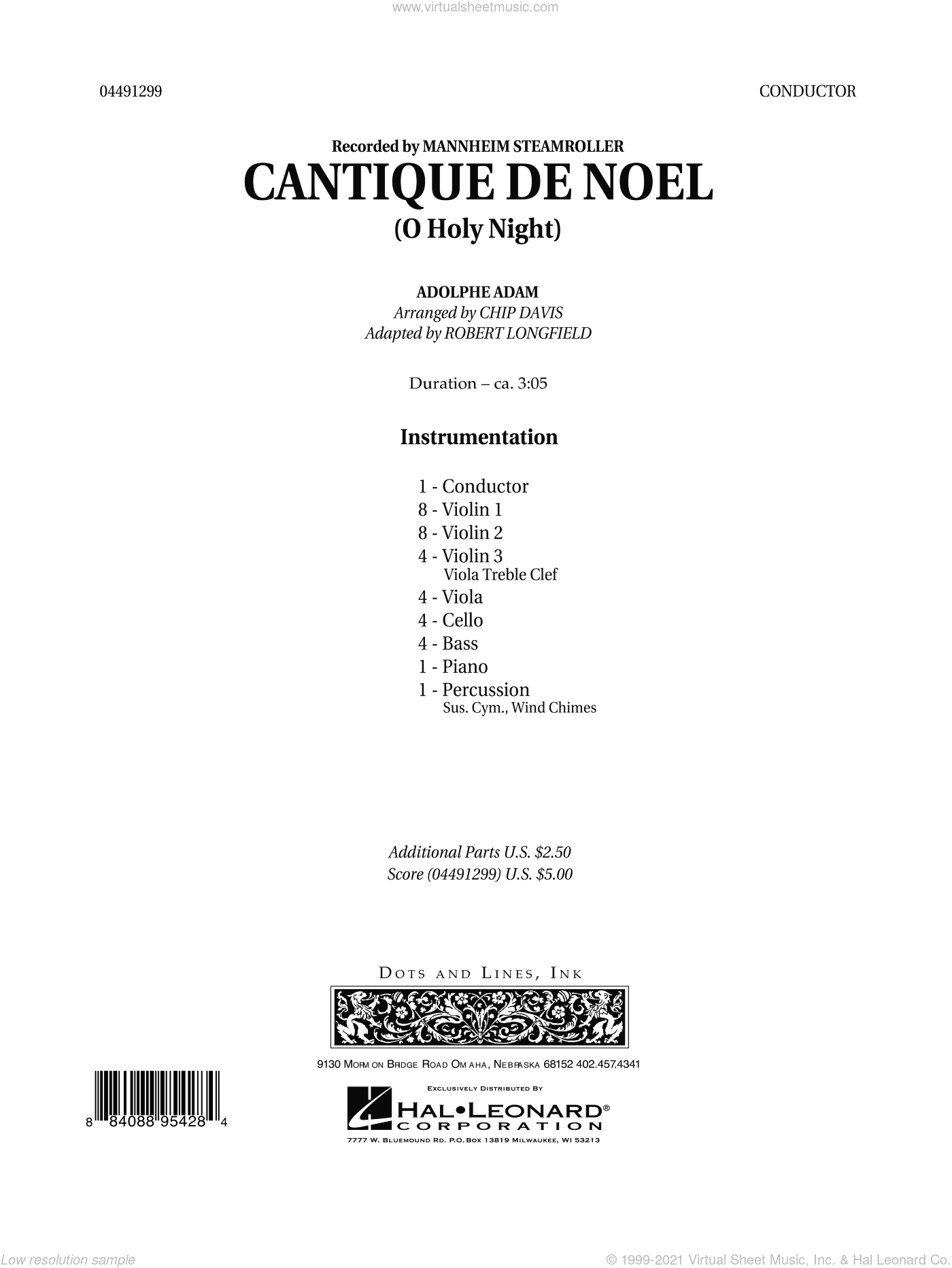 Cantique de Noel (O Holy Night) sheet music for orchestra (full score) by Chip Davis