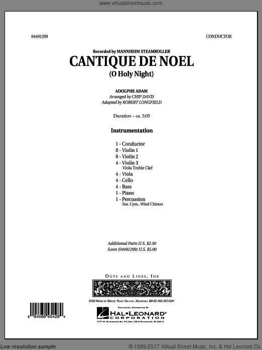 Cantique de Noel (O Holy Night) (COMPLETE) sheet music for orchestra by Chip Davis