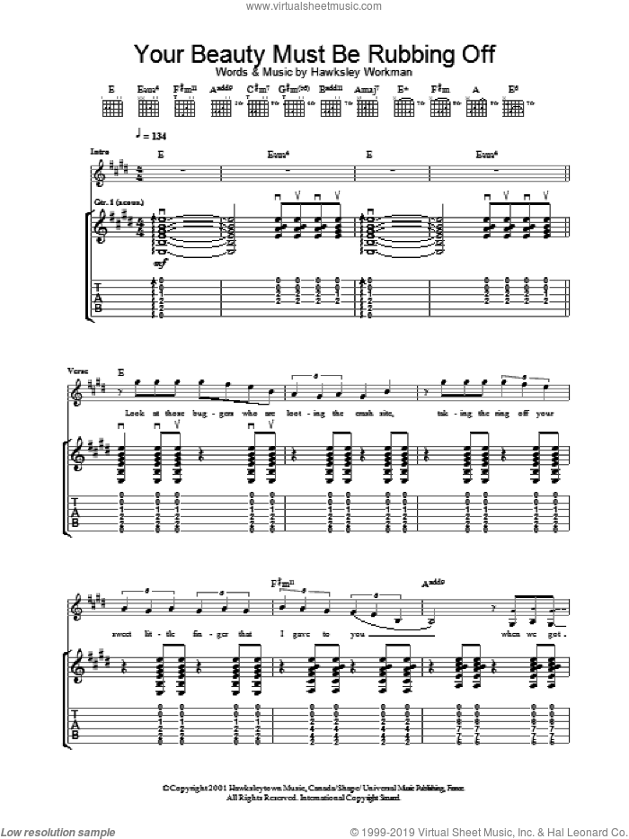 Your Beauty Must Be Rubbing Off sheet music for guitar (tablature) by Hawksley Workman. Score Image Preview.