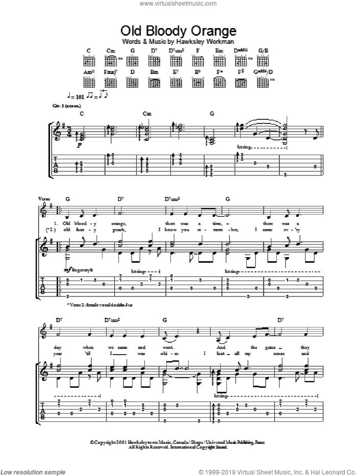 Old Bloody Orange sheet music for guitar (tablature) by Hawksley Workman. Score Image Preview.