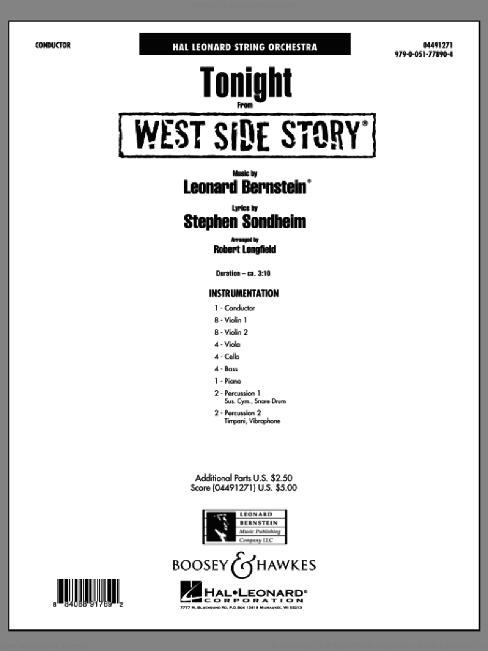 Tonight (from West Side Story) (COMPLETE) sheet music for orchestra by Leonard Bernstein and Robert Longfield, intermediate skill level