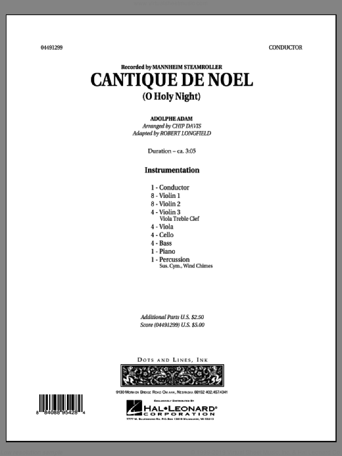 Cantique de Noel (O Holy Night) (COMPLETE) sheet music for orchestra by Robert Longfield, Chip Davis and Mannheim Steamroller, Christmas carol score, intermediate orchestra. Score Image Preview.