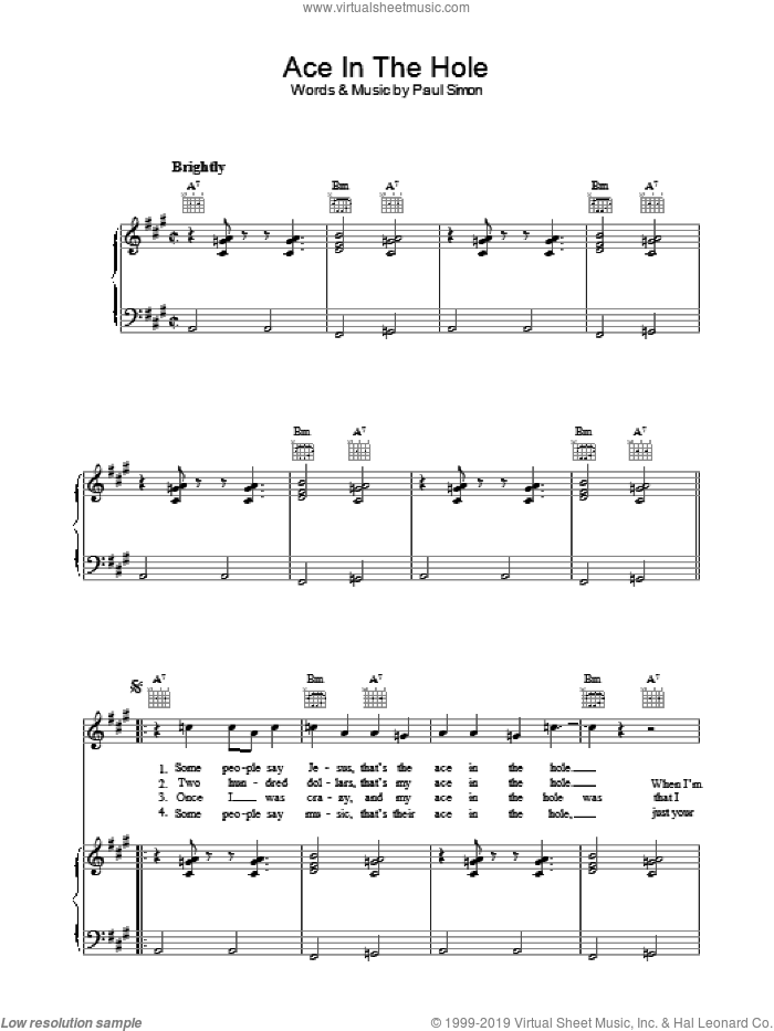 Ace In The Hole sheet music for voice, piano or guitar by Paul Simon, intermediate skill level