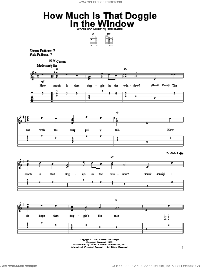 How Much Is That Doggie In The Window sheet music for guitar solo (easy tablature) by Bob Merrill and Baby Jane & The Rockabyes, easy guitar (easy tablature). Score Image Preview.