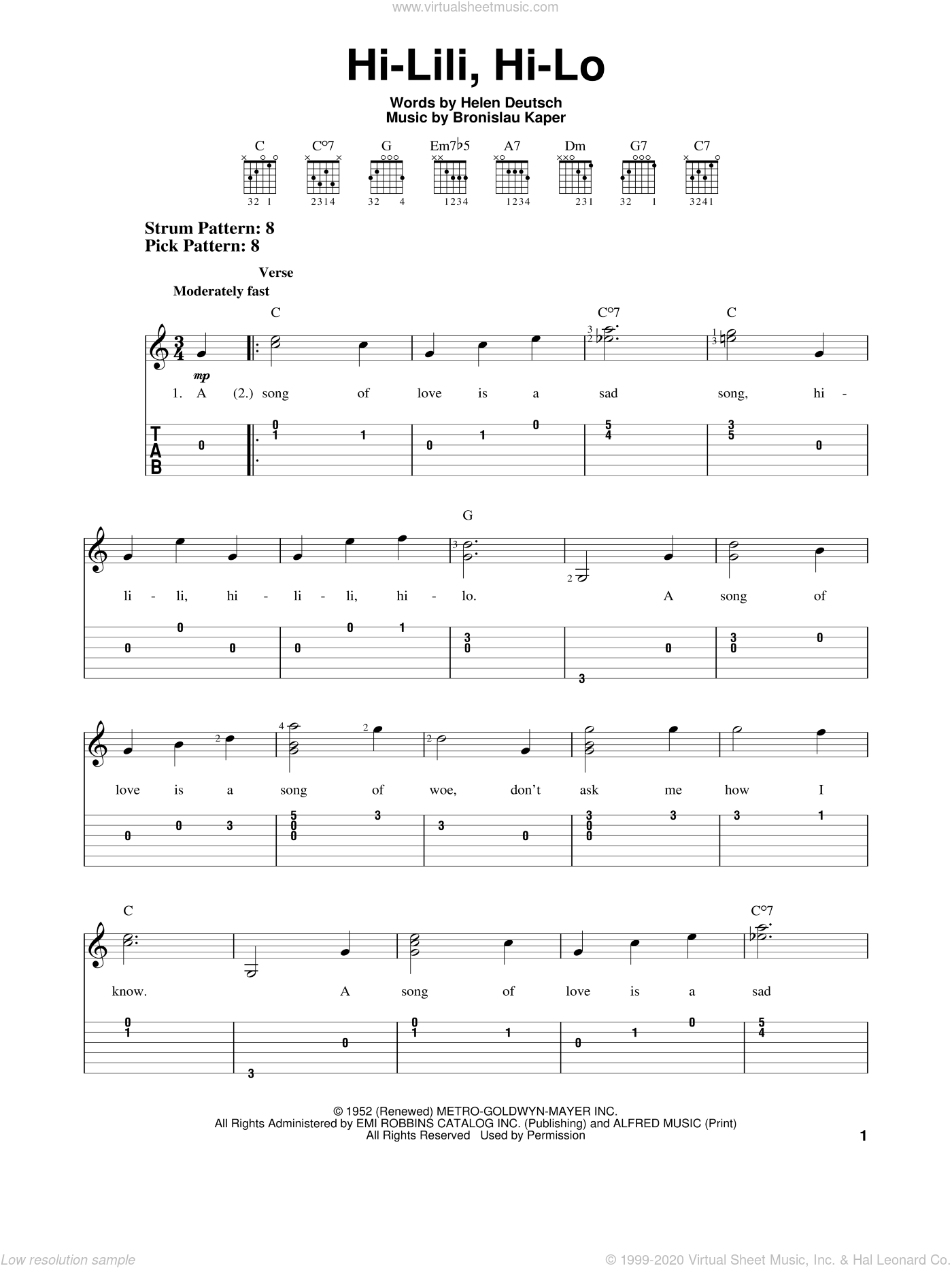 Hi-Lili, Hi-Lo sheet music for guitar solo (easy tablature) by Helen Deutsch and Bronislau Kaper. Score Image Preview.