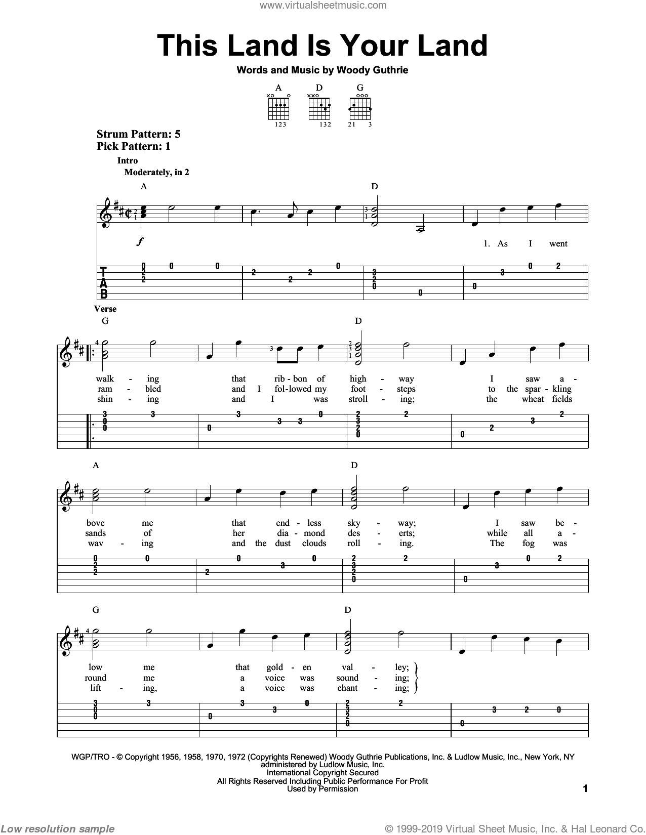 This Land Is Your Land sheet music for guitar solo (easy tablature) by Woody Guthrie