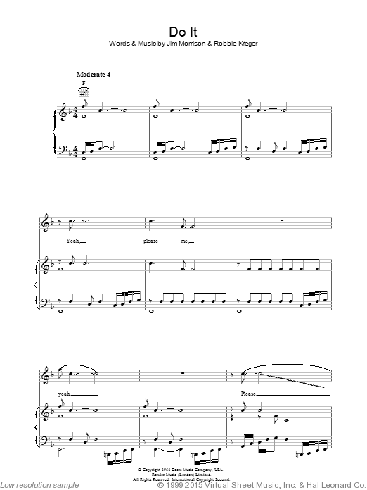 Do It sheet music for voice, piano or guitar by Robbie Krieger