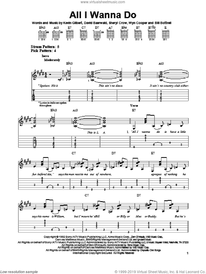 All I Wanna Do sheet music for guitar solo (easy tablature) by Sheryl Crow. Score Image Preview.