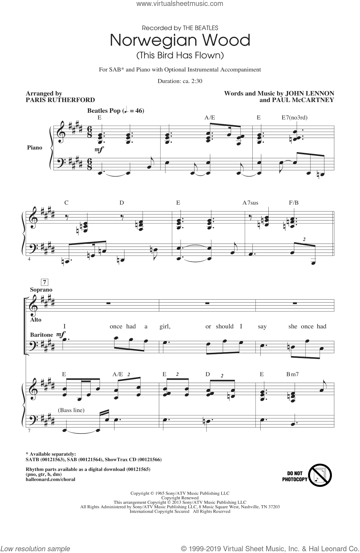 Norwegian Wood (This Bird Has Flown) sheet music for choir and piano (SAB) by Paris Rutherford and The Beatles. Score Image Preview.