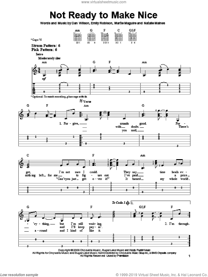 Not Ready To Make Nice sheet music for guitar solo (easy tablature) by Dixie Chicks. Score Image Preview.
