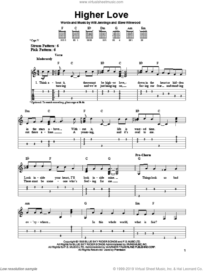 Higher Love sheet music for guitar solo (easy tablature) by Steve Winwood. Score Image Preview.