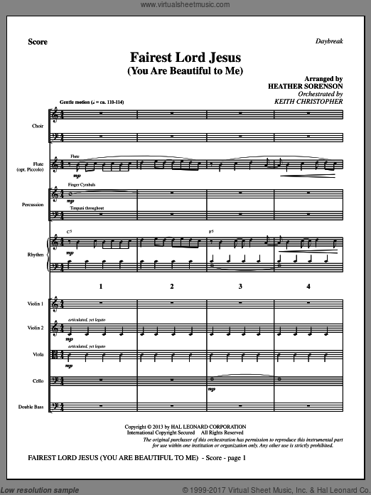 Fairest Lord Jesus (You Are Beautiful to Me) (COMPLETE) sheet music for orchestra by Heather Sorenson