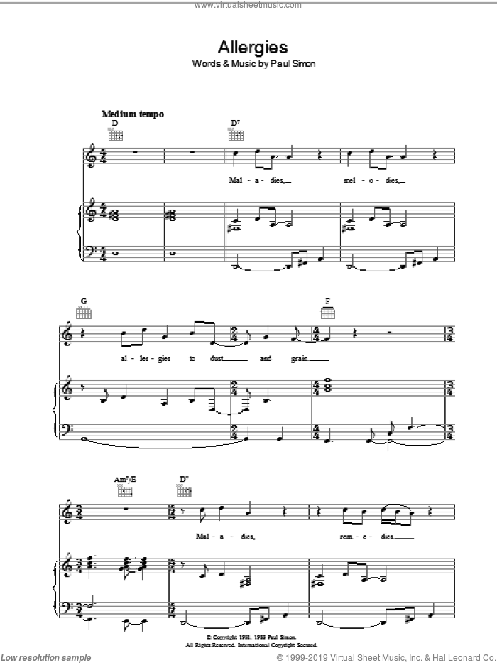 Allergies sheet music for voice, piano or guitar by Paul Simon. Score Image Preview.