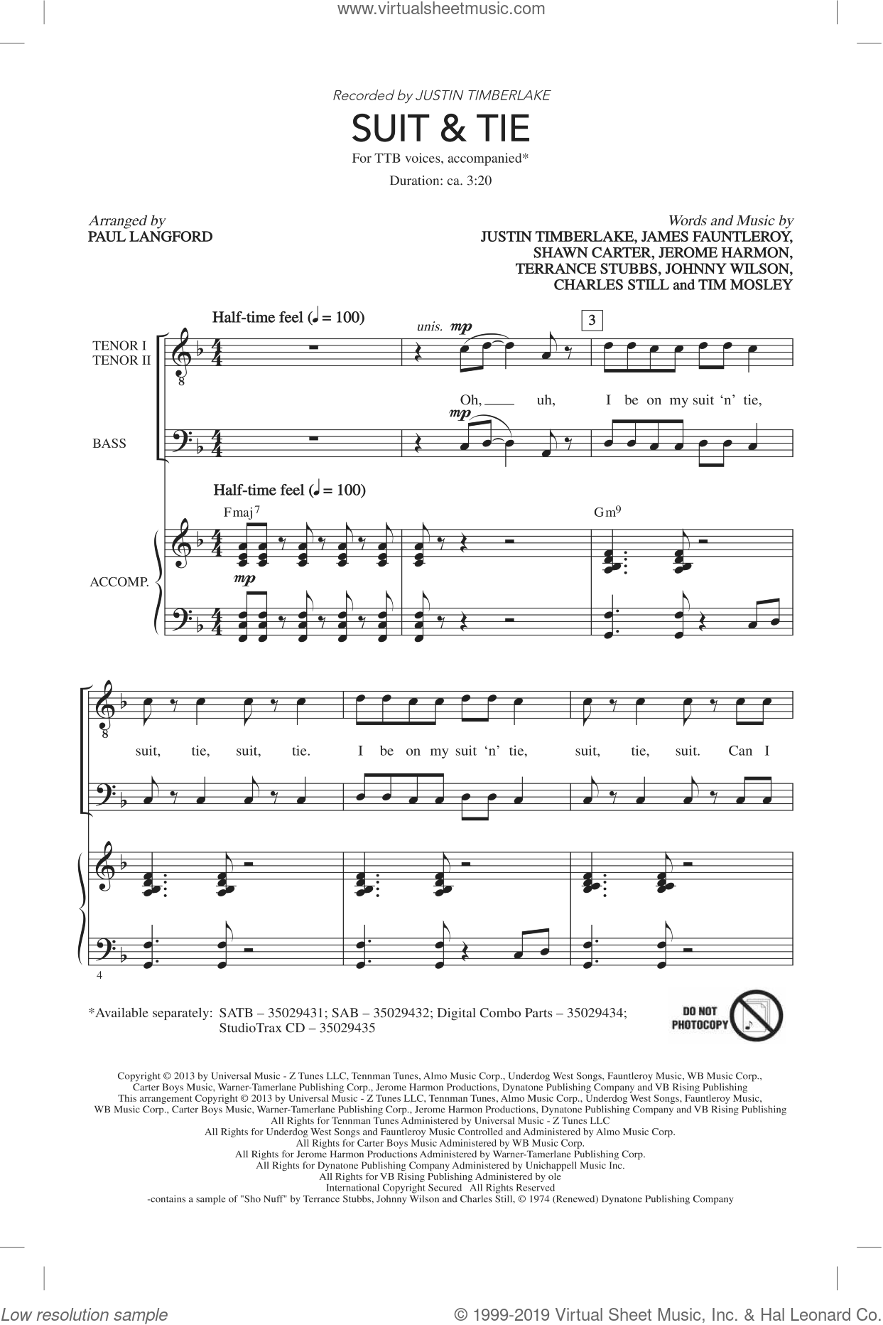 Suit and Tie sheet music for choir (TTBB: tenor, bass) by Justin Timberlake and Paul Langford, intermediate. Score Image Preview.