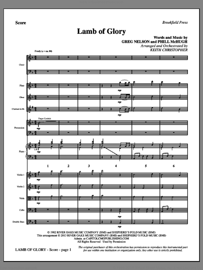 Lamb of Glory sheet music for orchestra/band (full score) by Keith Christopher and Steve Green. Score Image Preview.