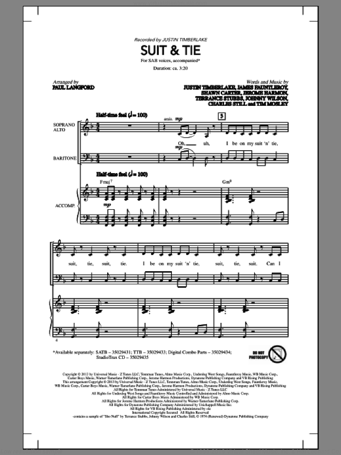 Suit and Tie sheet music for choir (SAB: soprano, alto, bass) by Justin Timberlake and Paul Langford, intermediate. Score Image Preview.