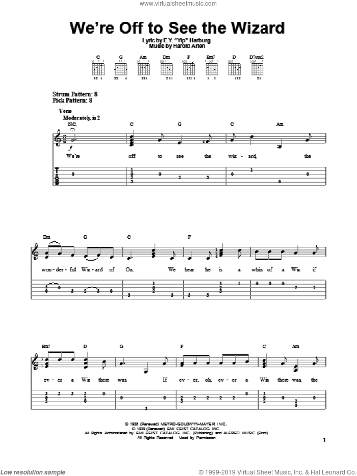 We're Off To See The Wizard sheet music for guitar solo (easy tablature) by E.Y. Harburg and Harold Arlen. Score Image Preview.