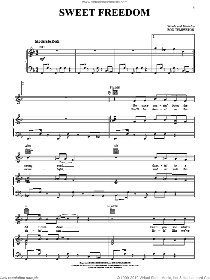 Sweet Freedom sheet music for voice, piano or guitar by Michael McDonald and Rod Temperton, intermediate. Score Image Preview.