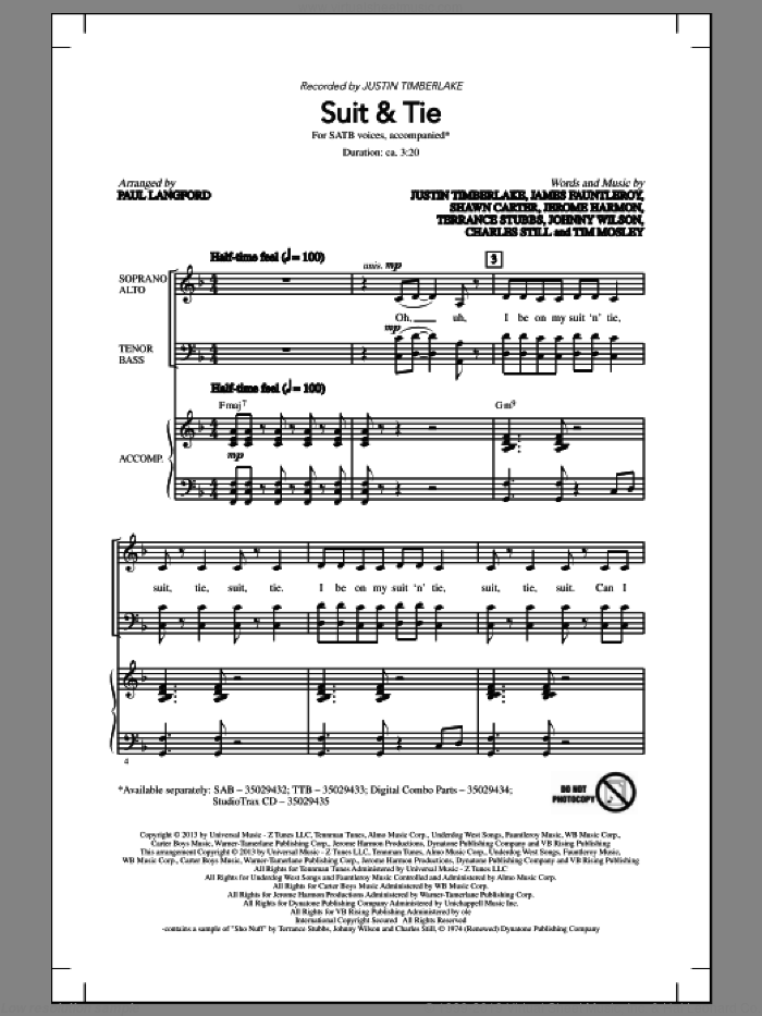 Suit and Tie sheet music for choir (SATB) by Justin Timberlake and Paul Langford. Score Image Preview.