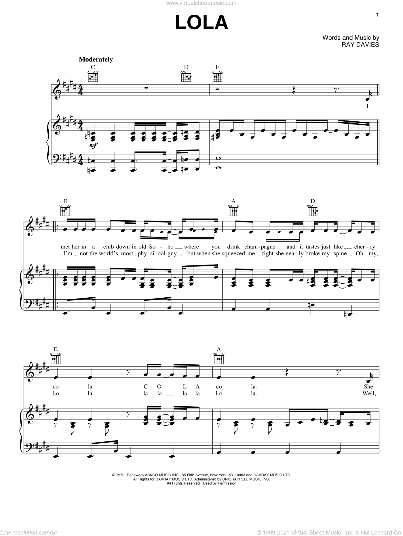 Lola sheet music for voice, piano or guitar by The Kinks