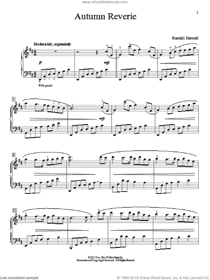Autumn Reverie sheet music for piano solo (elementary) by Randall Hartsell, classical score, beginner piano (elementary). Score Image Preview.