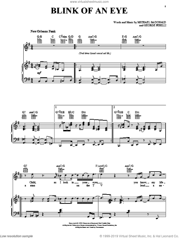 Blink Of An Eye sheet music for voice, piano or guitar by Michael McDonald, intermediate. Score Image Preview.