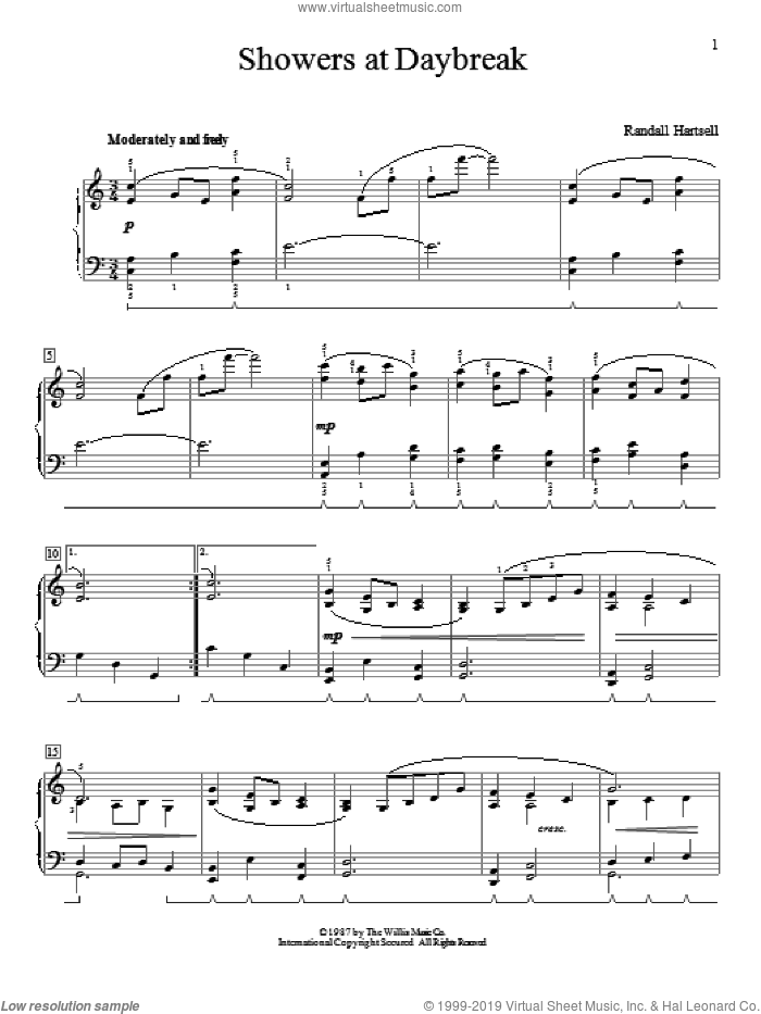 Showers At Daybreak sheet music for piano solo (elementary) by Randall Hartsell. Score Image Preview.