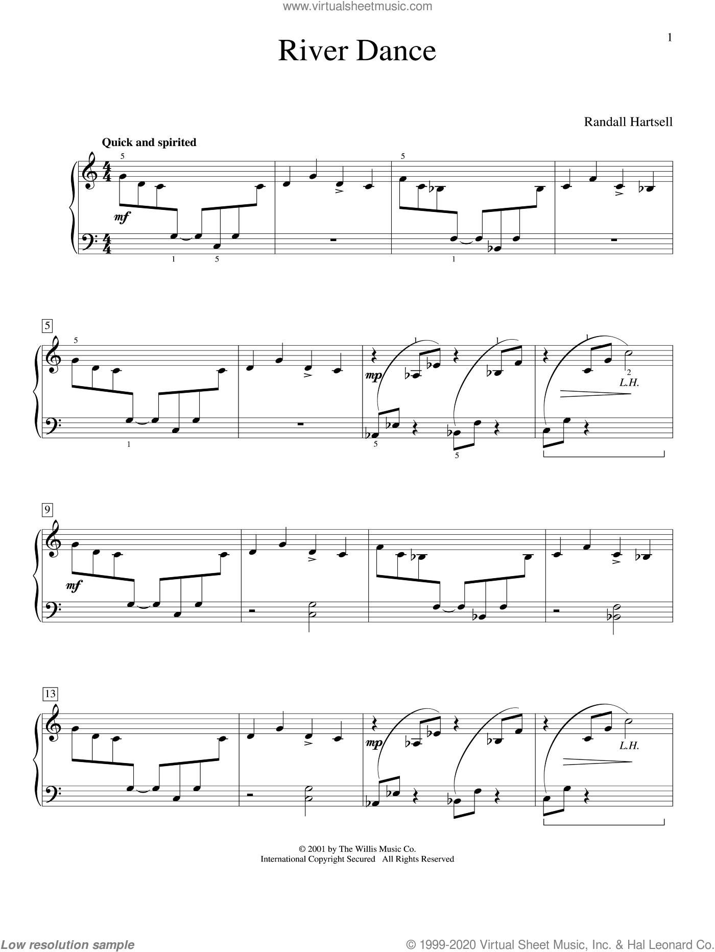 River Dance sheet music for piano solo (elementary) by Randall Hartsell. Score Image Preview.