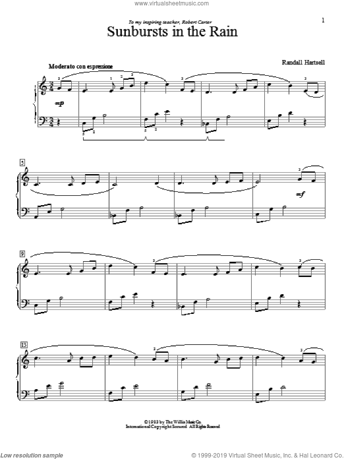 Sunbursts In The Rain sheet music for piano solo (elementary) by Randall Hartsell, classical score, beginner piano (elementary)