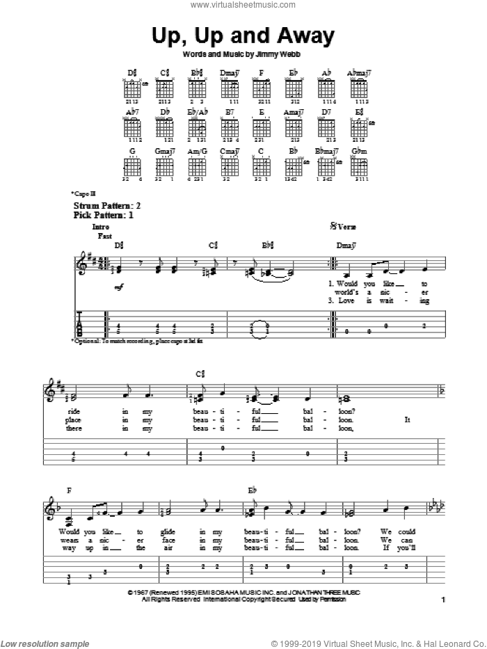 Up, Up And Away sheet music for guitar solo (easy tablature) by The Fifth Dimension, easy guitar (easy tablature)