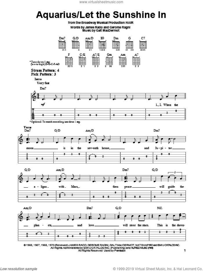 Aquarius sheet music for guitar solo (easy tablature) by The Fifth Dimension, easy guitar (easy tablature)