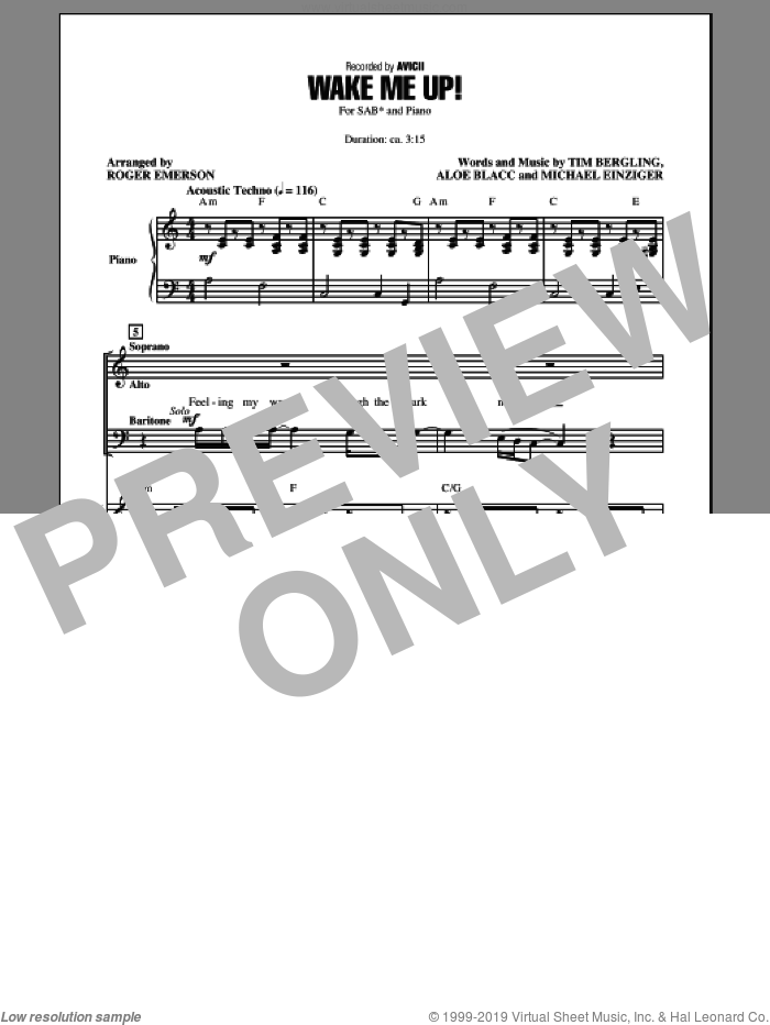 Wake Me Up! sheet music for choir and piano (SAB) by Roger Emerson and Avicii. Score Image Preview.