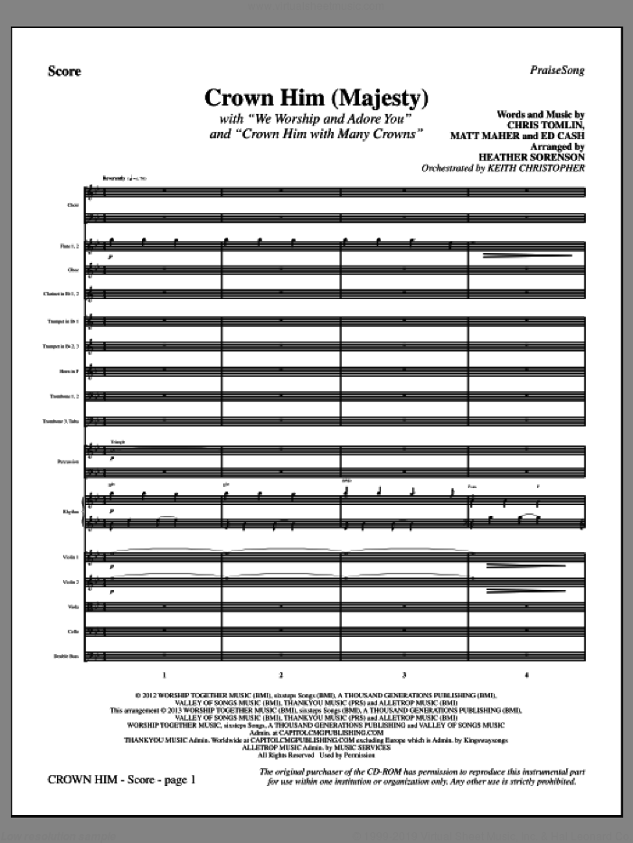 Crown Him (Majesty) (COMPLETE) sheet music for orchestra/band by Chris Tomlin and Heather Sorenson, intermediate skill level