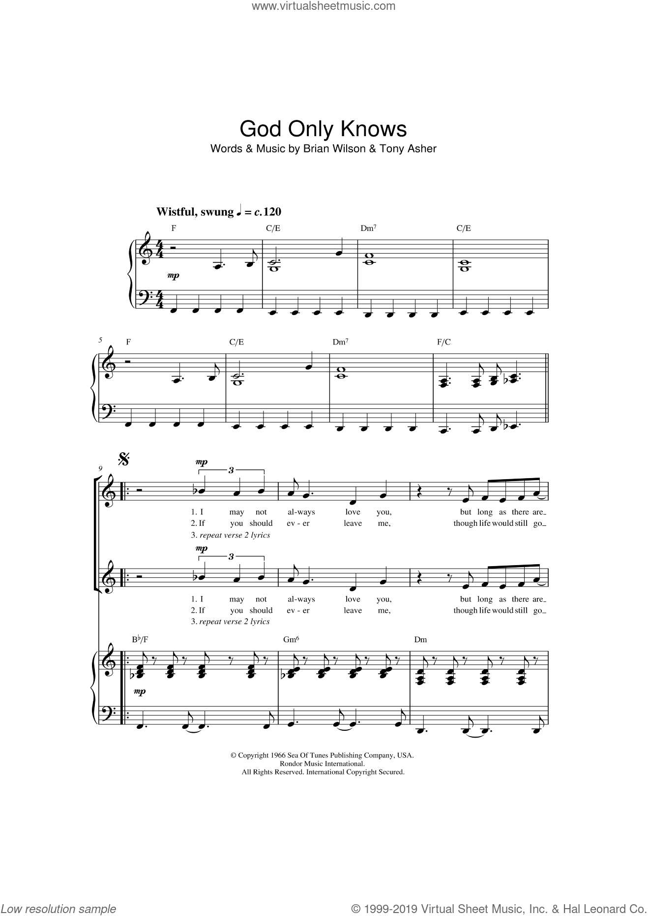 God Only Knows sheet music for choir and piano by Tony Asher, The Beach Boys and Brian Wilson. Score Image Preview.