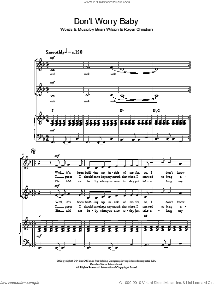 Don't Worry Baby sheet music for choir by The Beach Boys and Brian Wilson, intermediate choir. Score Image Preview.
