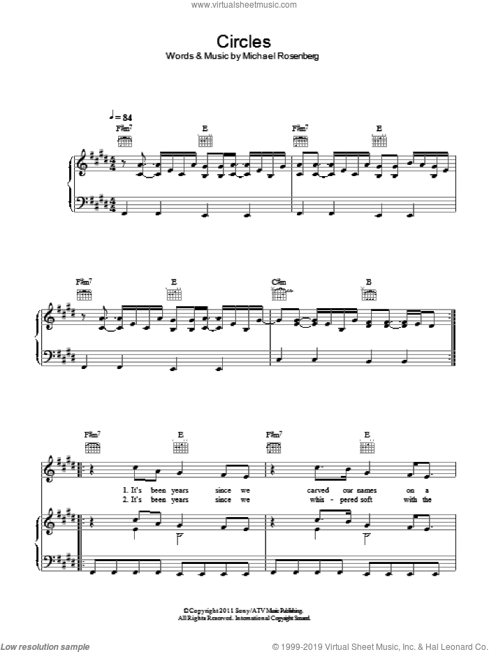 Circles sheet music for voice, piano or guitar by Passenger and Michael Rosenberg, intermediate skill level