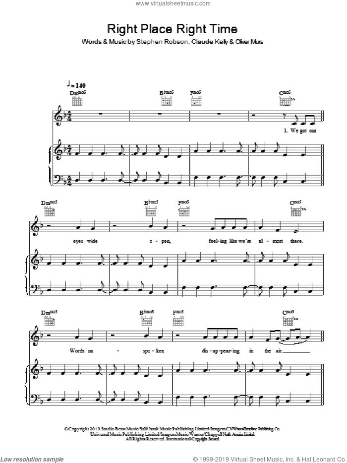 Right Place Right Time sheet music for voice, piano or guitar by Steve Robson, Claude Kelly and Oliver Murs. Score Image Preview.