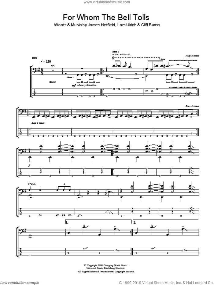For Whom The Bell Tolls sheet music for bass (tablature) (bass guitar) by Lars Ulrich, Metallica, Cliff Burton and James Hetfield. Score Image Preview.