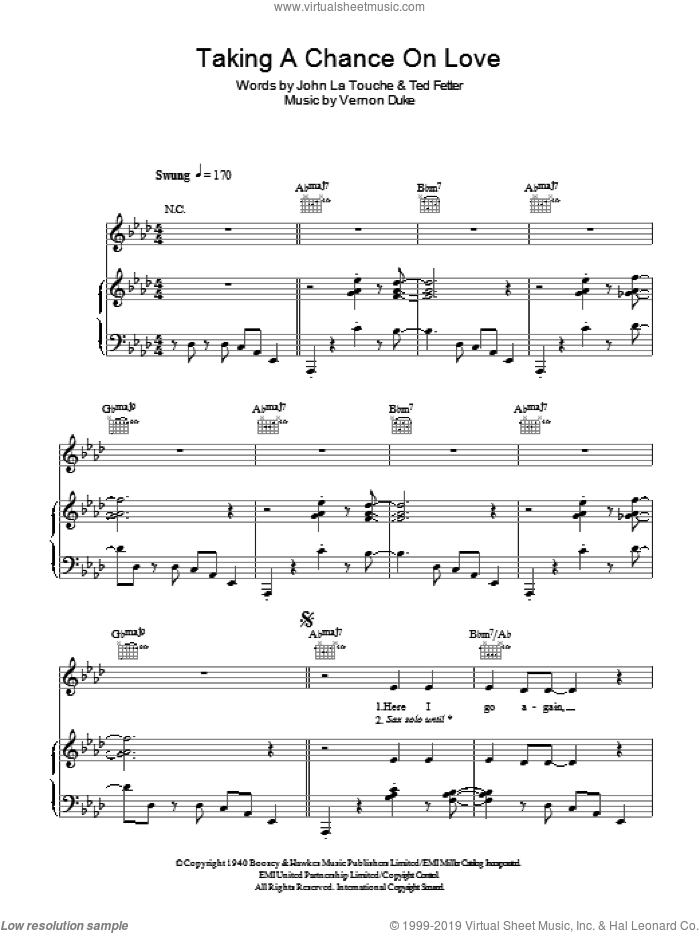 Taking A Chance On Love sheet music for voice, piano or guitar by Vernon Duke, Jane Monheit, John Latouche and Ted Fetter