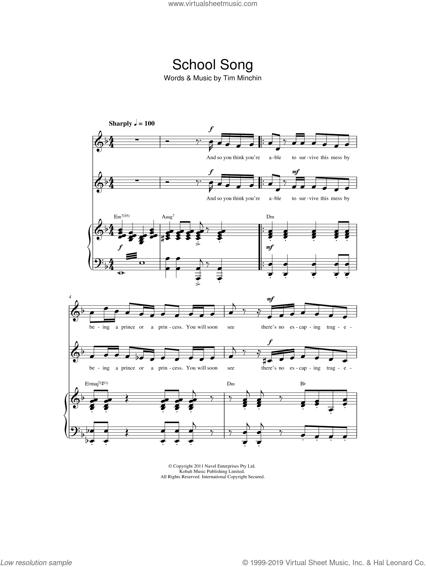 School Song (From 'Matilda The Musical') sheet music for choir by Tim Minchin. Score Image Preview.