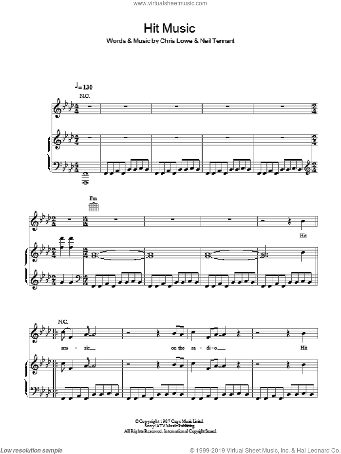Hit Music sheet music for voice, piano or guitar by Pet Shop Boys, intermediate. Score Image Preview.