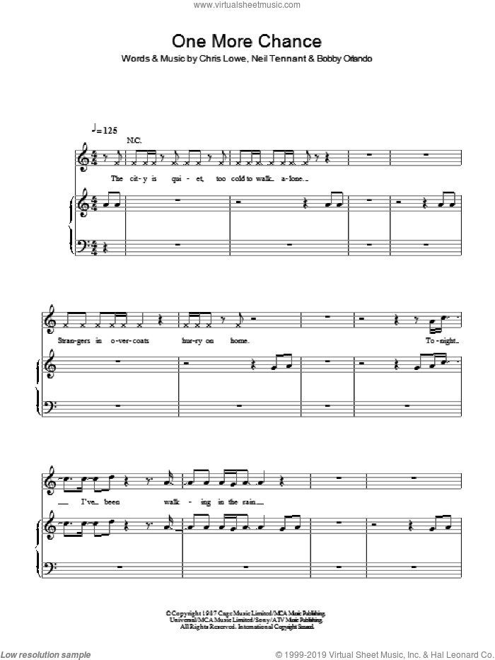One More Chance sheet music for voice, piano or guitar by Pet Shop Boys, Bobby Orlando, Chris Lowe and Neil Tennant, intermediate skill level