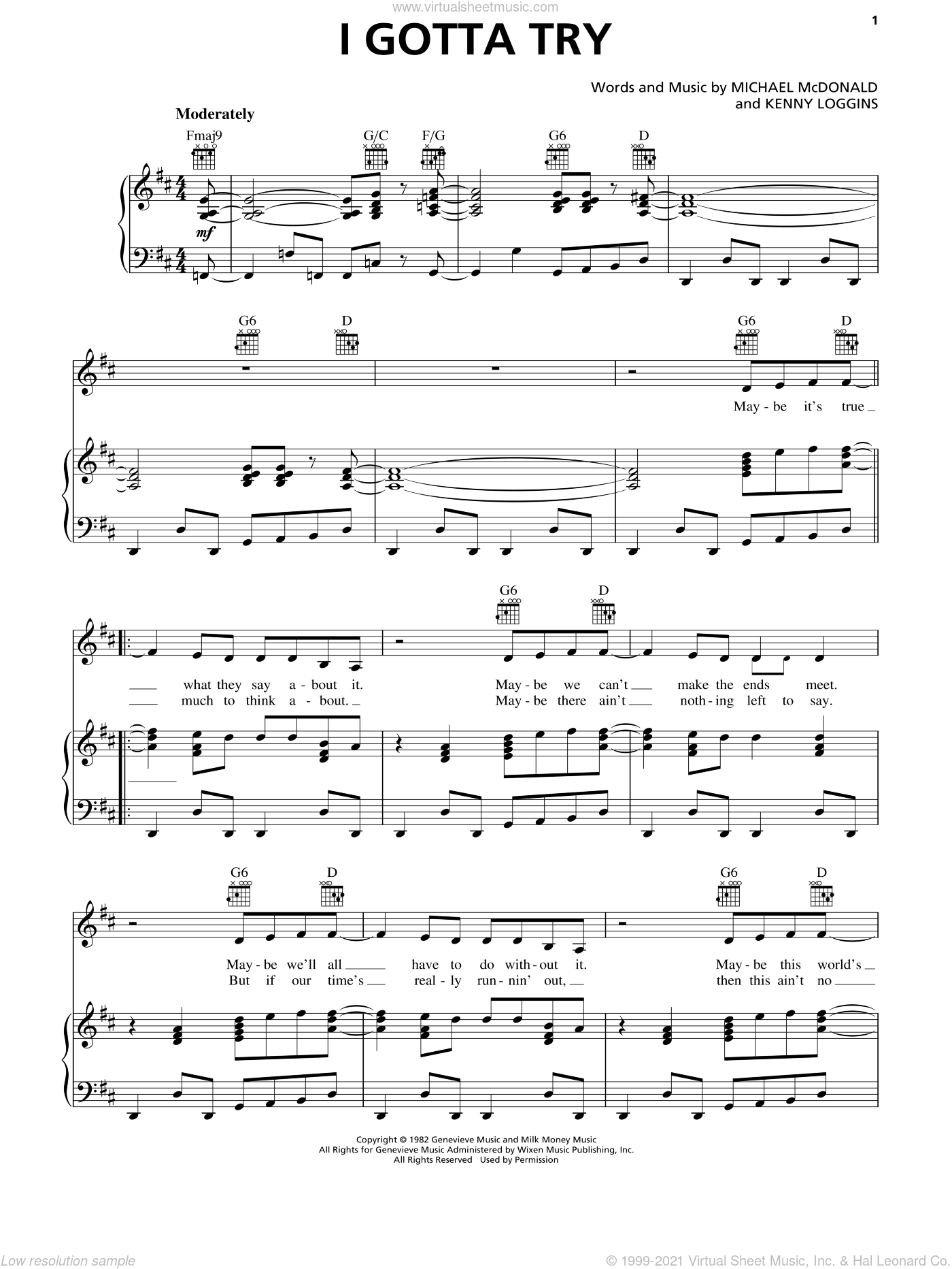 I Gotta Try sheet music for voice, piano or guitar by Michael McDonald and Kenny Loggins, intermediate. Score Image Preview.