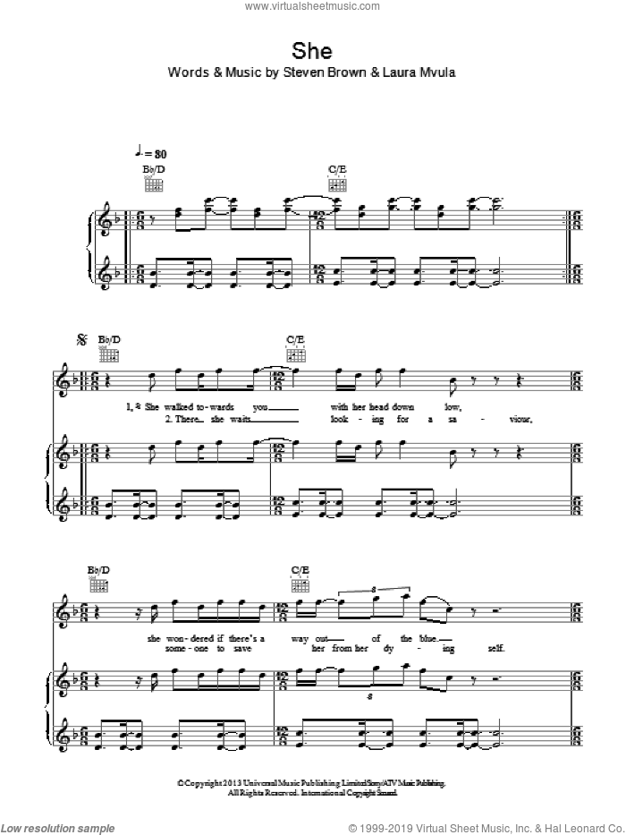 She sheet music for voice, piano or guitar by Laura Mvula and Steve Brown, intermediate skill level