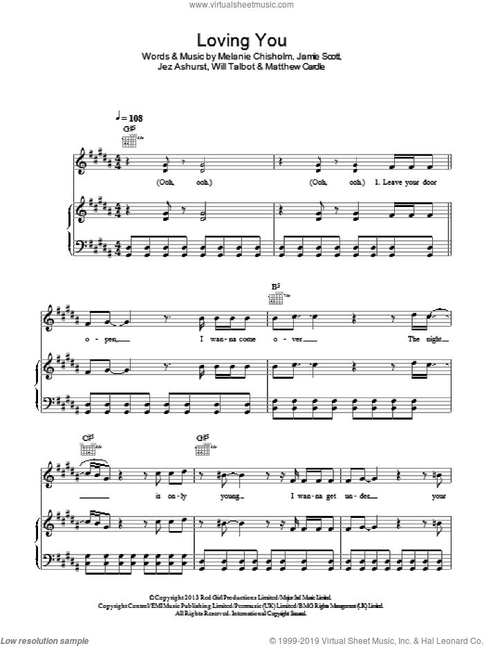 Loving You sheet music for voice, piano or guitar by Jamie Scott, Chisholm Melanie, Jez Ashurst, Matthew Cardle, Melanie Chisholm and Will Talbot, intermediate skill level