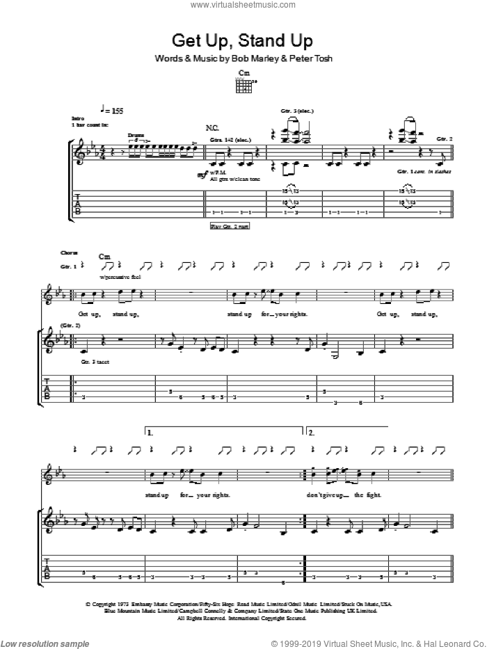 Get Up, Stand Up sheet music for guitar (tablature) by Bob Marley and Peter Tosh. Score Image Preview.