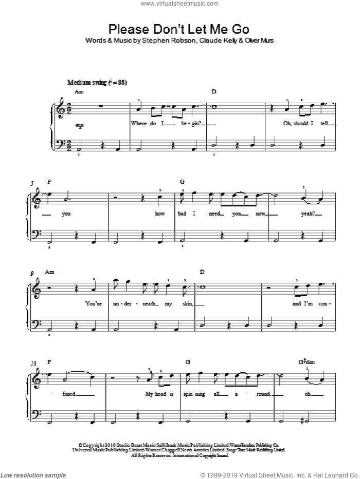 Please Don't Let Me Go sheet music for piano solo by Steve Robson, Claude Kelly and Oliver Murs. Score Image Preview.
