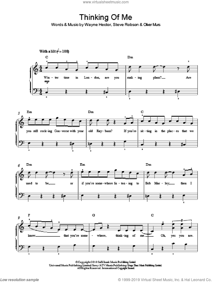 Thinking Of Me sheet music for piano solo by Olly Murs and Wayne Hector, easy piano. Score Image Preview.