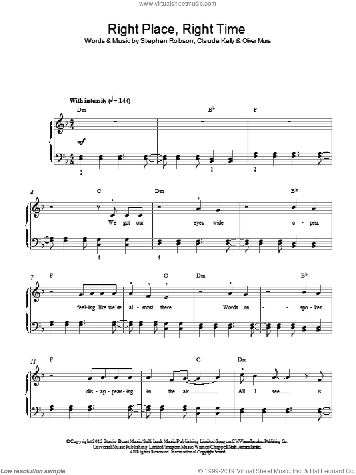 Right Place Right Time sheet music for piano solo by Olly Murs, Claude Kelly, Oliver Murs and Steve Robson, easy skill level