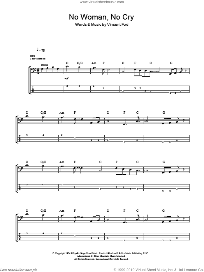 No Woman, No Cry sheet music for bass (tablature) (bass guitar) by Vincent Ford and Bob Marley. Score Image Preview.